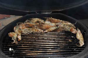 Barbequing the Bug Tails, brushed with the spice butter