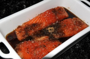 Curing the salmon in brown sugar and salt