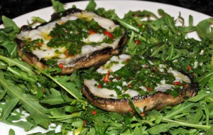 Grilled Mushrooms with cheese and herb dressing