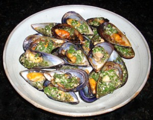 Sizzling Garlic Mussels