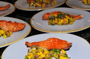 Home-Smoked Rum-Soaked Salmon with Mango Salsa
