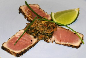 Seared Peppered Tuna with a Macadamia Curry Compote