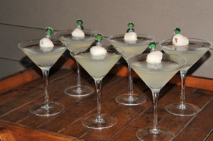 Lychee Martinis lined up, ready to be enjoyed!