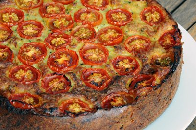 recipe: zucchini pie with bacon and cherry tomatoes