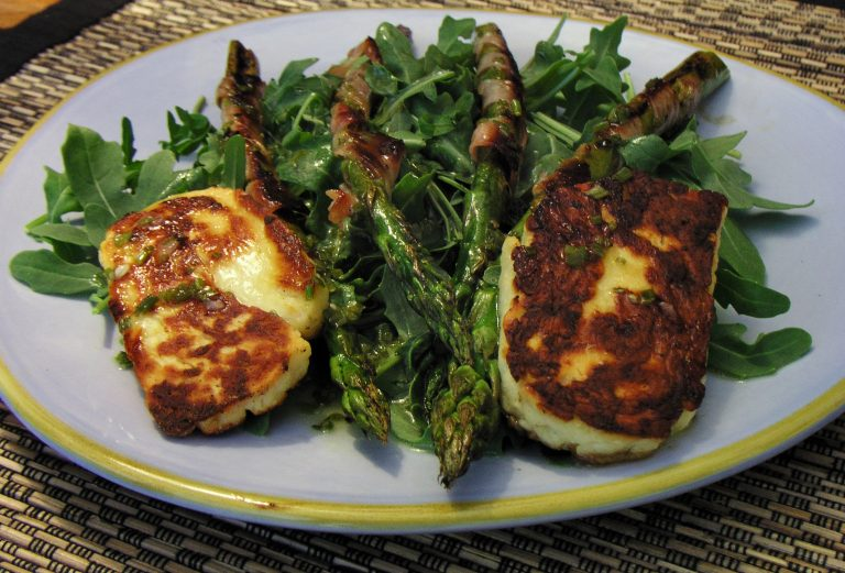 Grilled Asparagus & Haloumi with a Lemon Chive Dressing